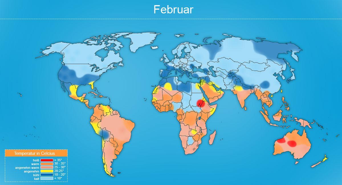 Klimakarte Februar