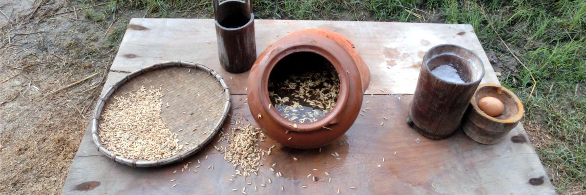 Trennung der guten von den schlechten Reiskörner