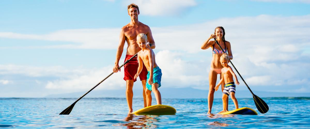 Familie Stand-Up-Paddling