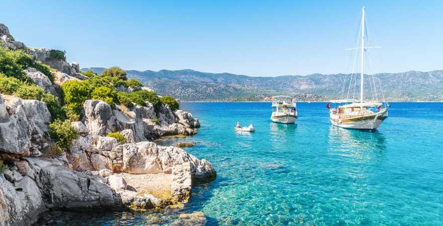 Bucht mit Booten in der Türkei