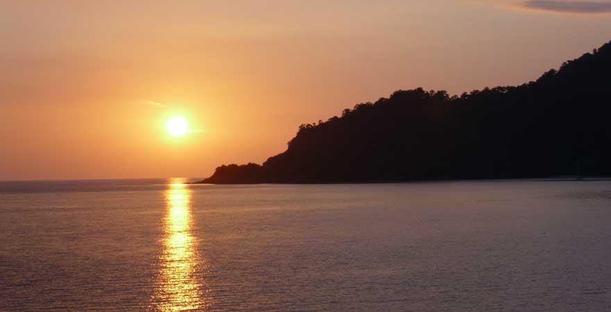 sonnenunterganf auf der Star Clipper in Thailand