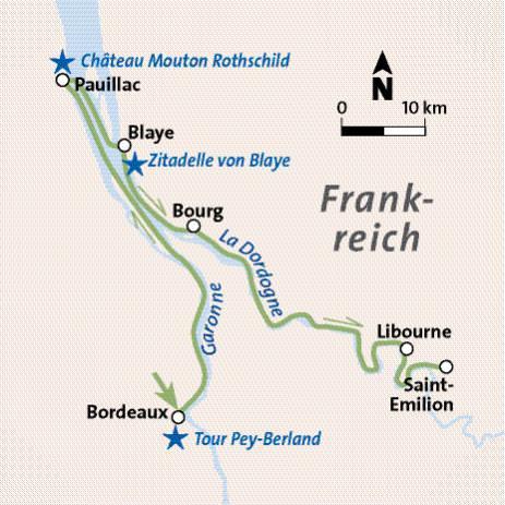 Route Flusskreuzfahrt Frankreich