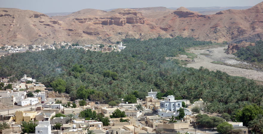 Ausblick vom Wadi auf ein Dorf mit Palmen
