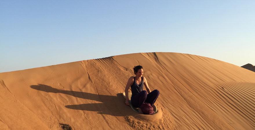 Mit dem Schlitten in der Wüste