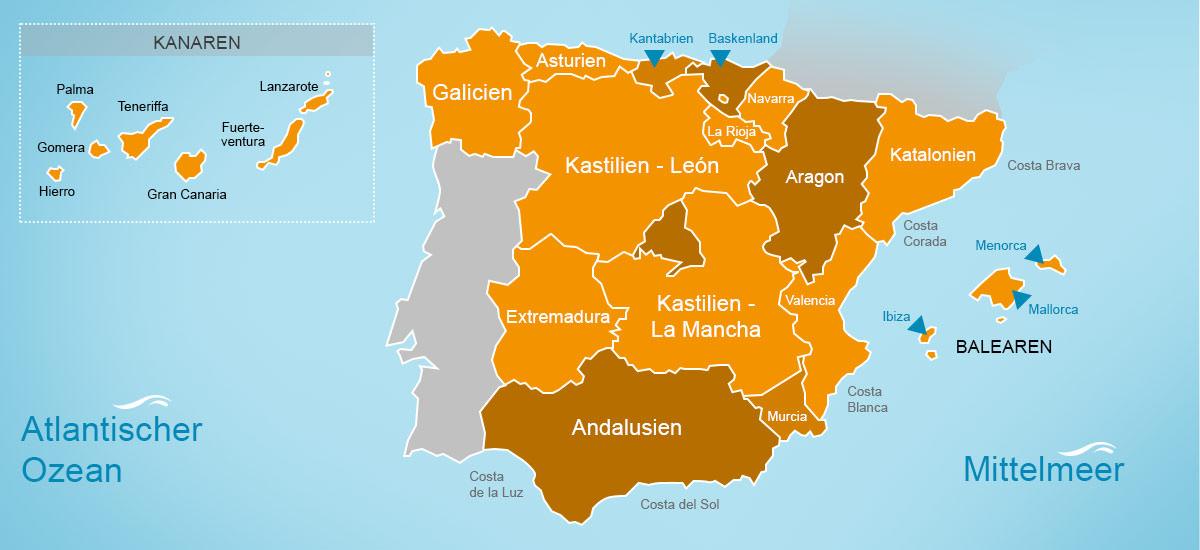 Regionen Spanien
