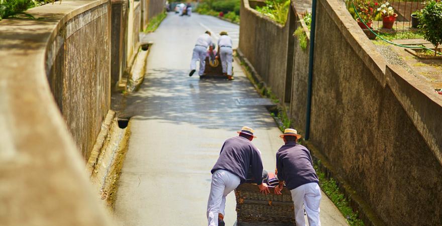 Korbschlitten in Funchal