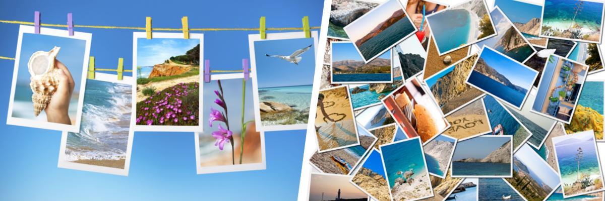 Fotoleine und Postkarten.