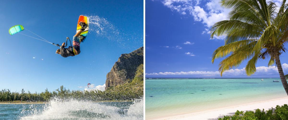 Kitesurfen und Strand in Mauritius