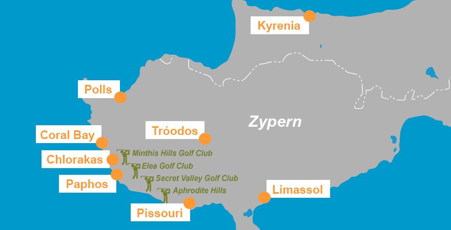 Karte Golfplätze auf Zypern