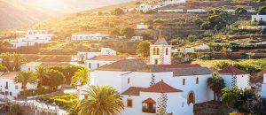 Dorf in Fuerteventura bei Sonnenuntergang