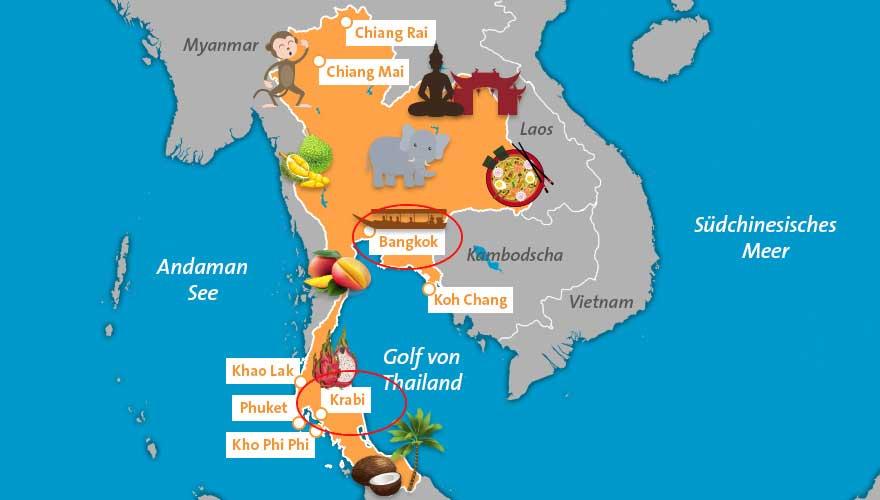 Route von Bangkok nach Krabi