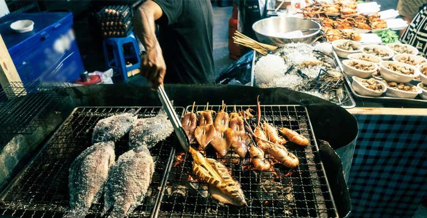 frischer Fisch Streetfood in Bangkok