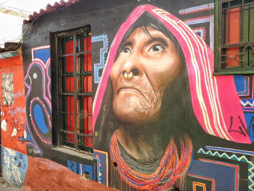 Kunst auf einer Hauswand in Bogota