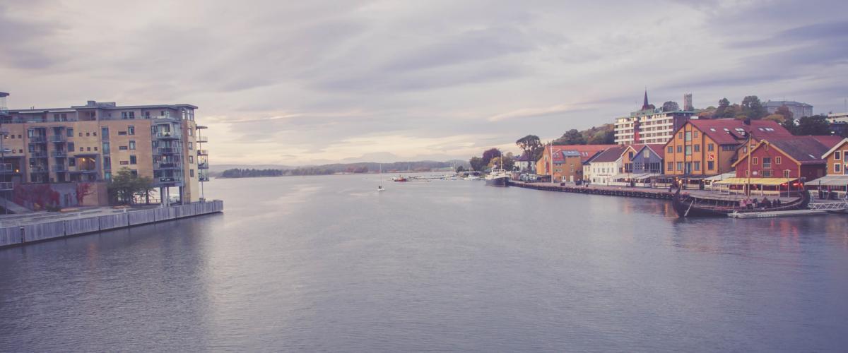 Tolle Aussicht in Tonsberg's Hafenviertel