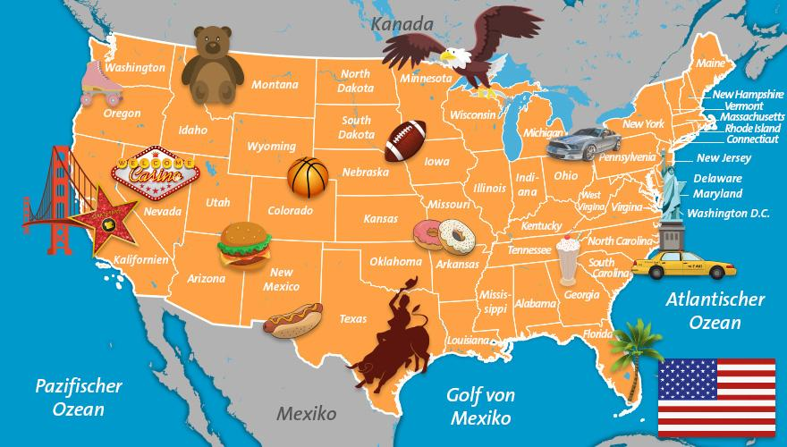 Karte USA, Urlaubsregionen Bundesstaaten