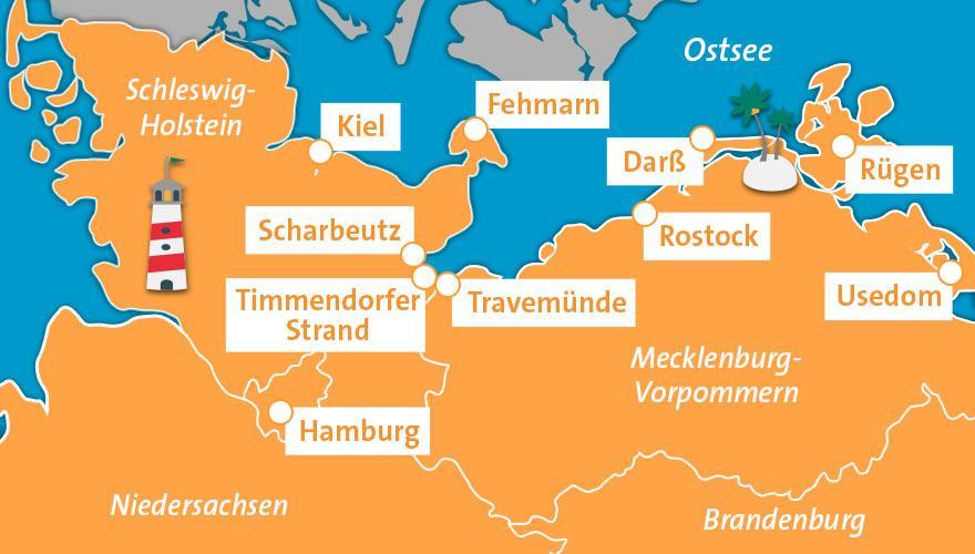 Karte Ostsee, urlaubsregionen