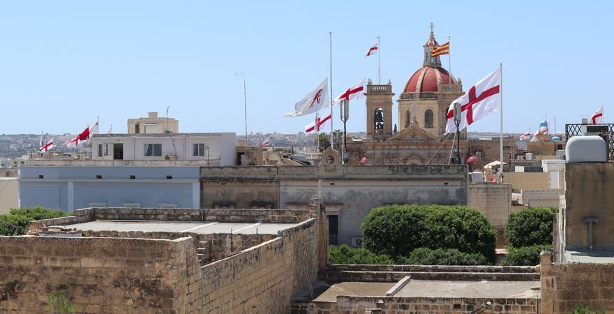 Panorama von der Zitadelle von Victoria, Gozo, Malta