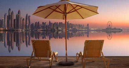 Skyline von Dubai am Abend