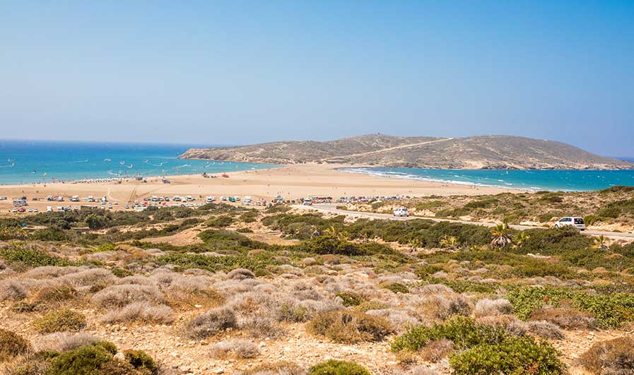 Blick auf den Prasoniki Beach auf Rhodos