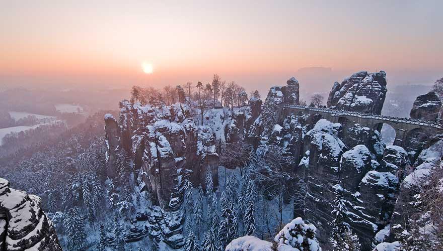 Saechsische Schweiz im Winter