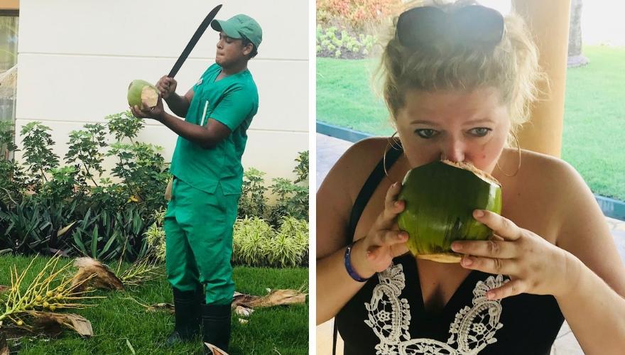 frische Kokosnuss in der Dominikanischen Republik