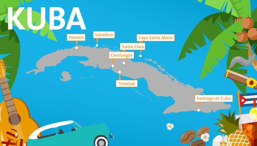 karte von kuba mit urlaubsregionen