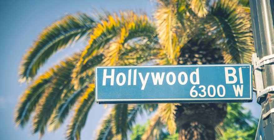 Straßenschild Hollywood