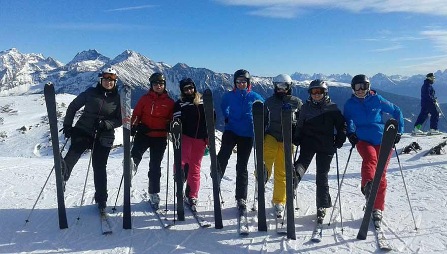 Skifahrer in Suedtirol