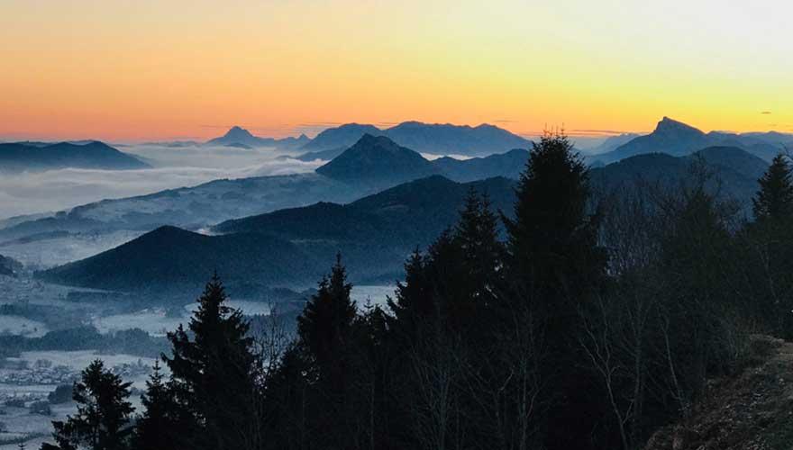 Sonnenuntergang Berg Gaisberg in salzburg