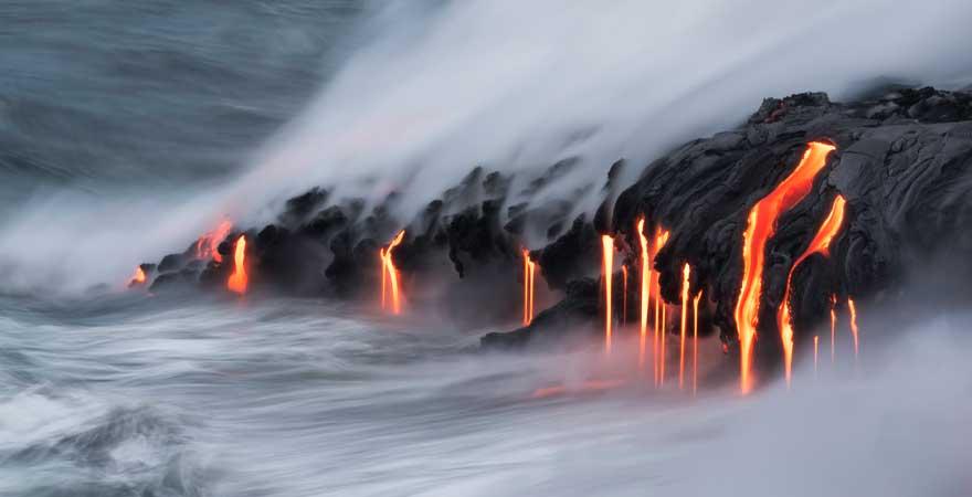 Kilauea Lava fließt ins Meer