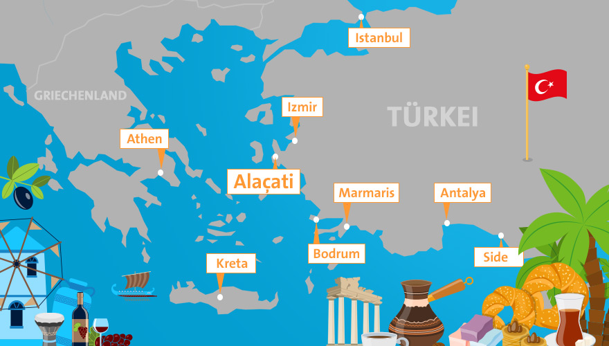 Karte von Urlaubsregion Alacati