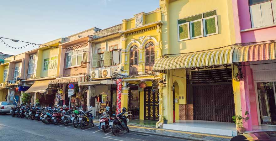 Bunte Häuser in Phuket Town