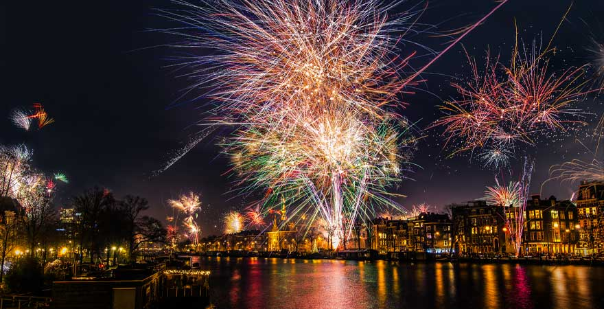 Feuerwerk an Silvester in Amsterdam