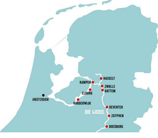 karte mit Hansestädten in Holland