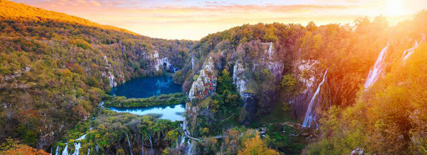 Plitvicer Seen bei Sonnenuntergang