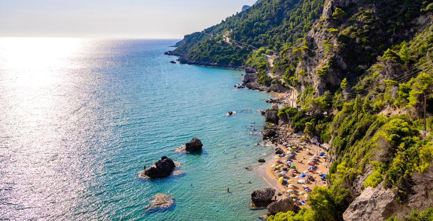 Mirtiotissa Strand auf Korfu
