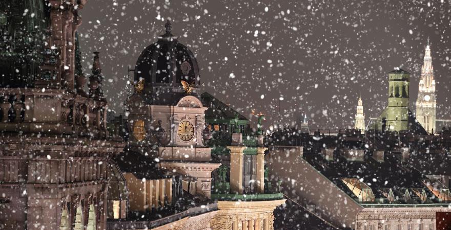 Skyline von Wien im winter