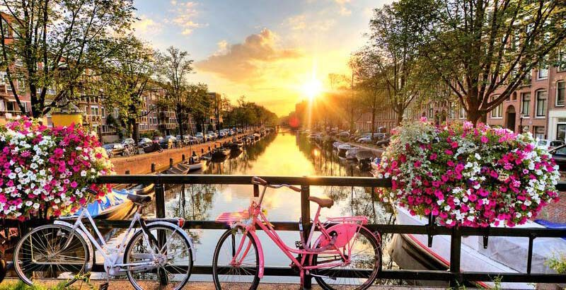 Gracht, Fahrrad in Amsterdam, Sonnenuntergang