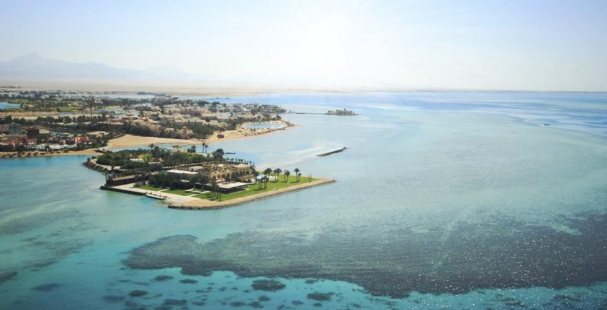 Vogelperspektive auf den Golf von Sues und El Gouna