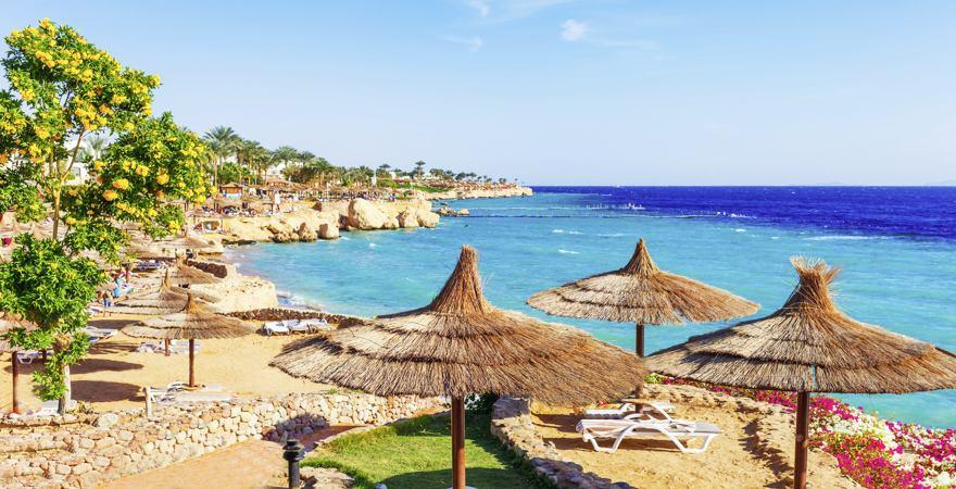 Blick vom Strand von Sharm El Sheik über Liegen und Stroh-Sonnenschirme auf türkises Meer.