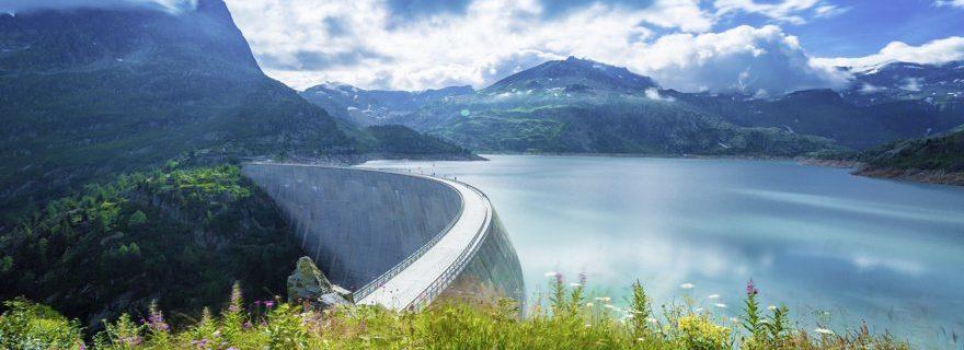 Im Vordergrund sind Grünpflanzen, über die man auf einen See und Bergkulisse blickt.