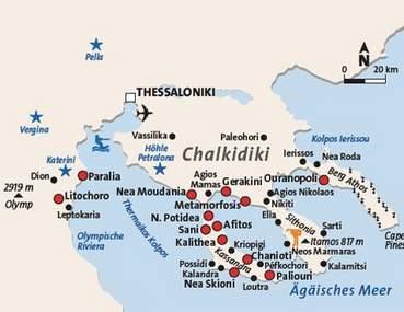 Karte Chalkidiki