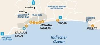 Salalah Taqa Mirbat Karte